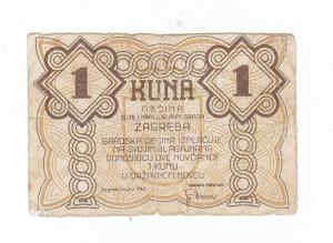 NDH 1 kuna 1942 grad Zagreb RIJETKO!