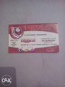 Ulaznica FK SARAJEVO-FK ZELJEZNICAR