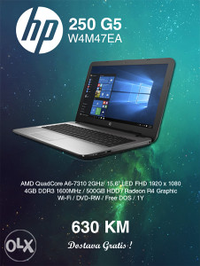 "LAPTOP HP 250 G5 W4M47EA 15,6"" FULL HD 1920 X 1080"