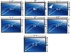 Ekrani raznih veličina za laptope