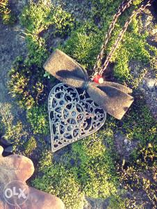 Steampunk srce, Karneol kristal, unikatna