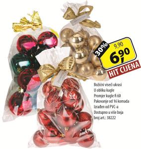 Božićni viseći ukrasi U obliku kugle
