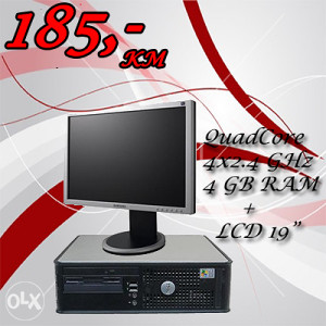 Dell Optiplex 745 desktop QuadCore 4x2.4 Ghz   LCD 19""