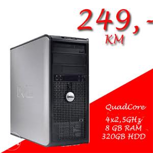 DELL 755 TOWER QuadCore/4x2,5GHz/8GB RAM/320 GB HDD/DVD