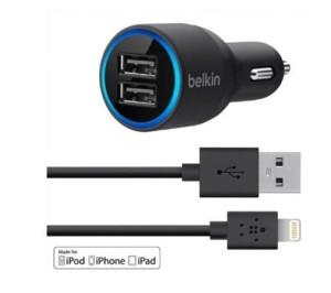 USB punjač za auto za mobitele 2 USB ulaza i kabal