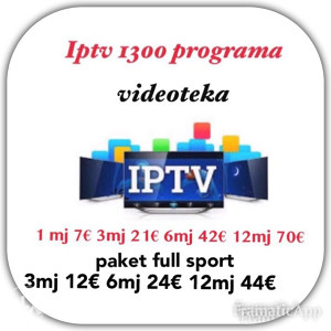 IPTV TELEVIZIJA 1500 programa + VIDEOTEKA