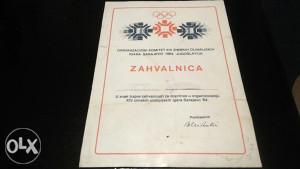 Zahvalnica Olimpijada Sarajevo ZOI 84