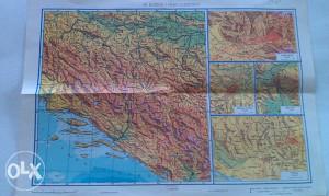 Geograf. karte: Bosna i Hercegovina,Jugoslavija,Evropa