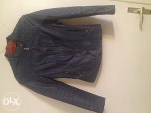 Plava kozna jakna XS,ORSAY