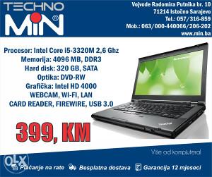 "Lenovo ThinkPad T430 14"" i5 2,6/4/320/DVD-RW WEBCAM"