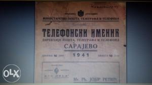 Telefonski imenik Sarajevo 1941.god.