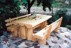 Vrtni namjestaj drveni stolovi i klupe, drvene stolice