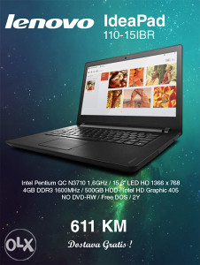 Laptop LENOVO IdeaPad 110-15IBR Quad Core