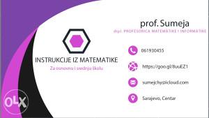 INSTRUKCIJE IZ MATEMATIKE, Sarajevo, MATEMATIKA