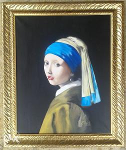 Umjetnička slika Vermeer: Djevojka s bisernom naušnicom