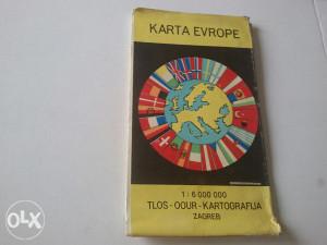 Stara karta Evrope iz SFRJ Zagreb 1981 g.
