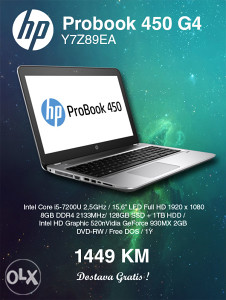 Laptop HP Probook 450 G4 Y7Z89EA i5-7200U SNIŽENJE 2017