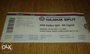 Ulaznica Hajduk - Zagreb