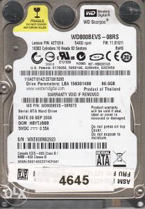 Hard Disk za laptop Western Digital 80 GB sata