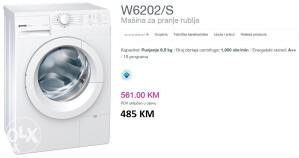 GORENJE veš mašina W6202/S - 6,5 kg, 1000 obrtaja